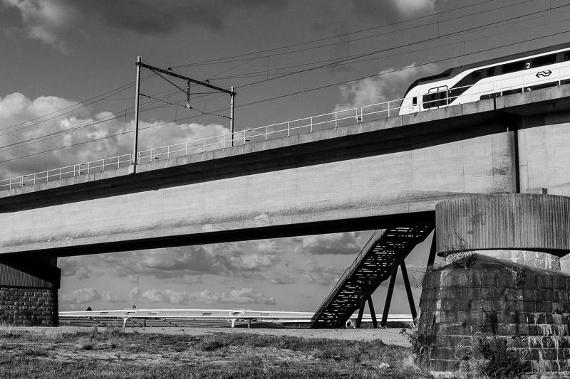 trein, Nijmegen, spoorbrug, Spiegelwaal